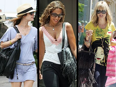 celebrity with their fringe bags